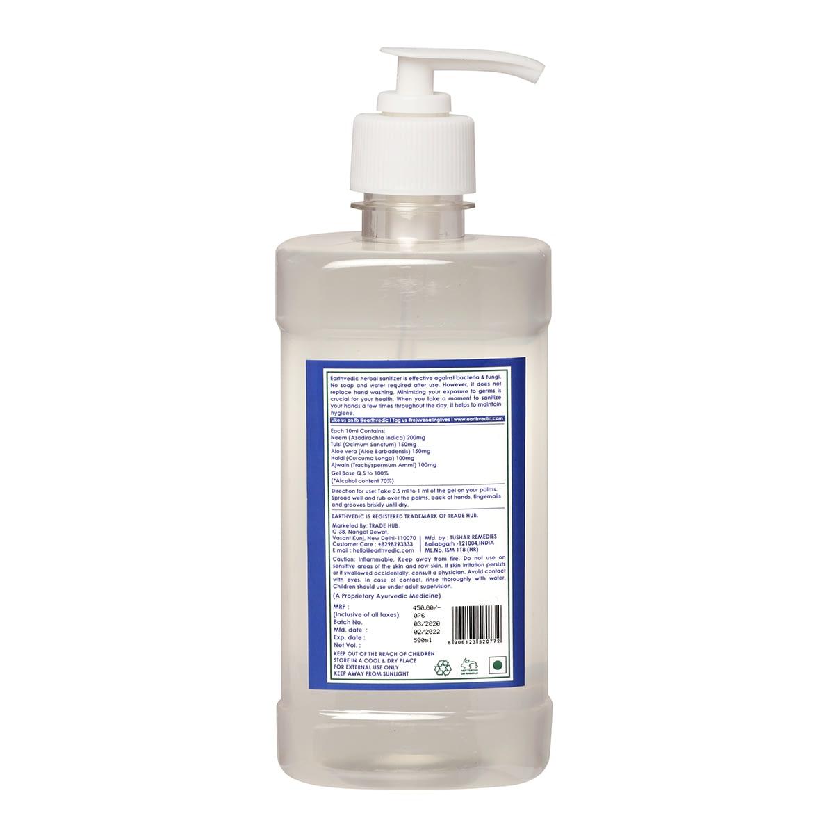 earthvedic instant hand sainitizer gel-Isopropyl alcohol-70%-back